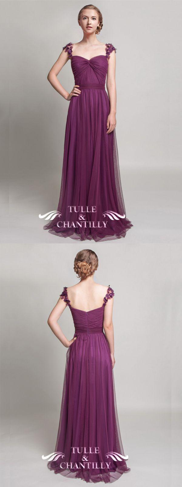 Elegant Long Bridesmaid Dress with Floral Straps TBQP327