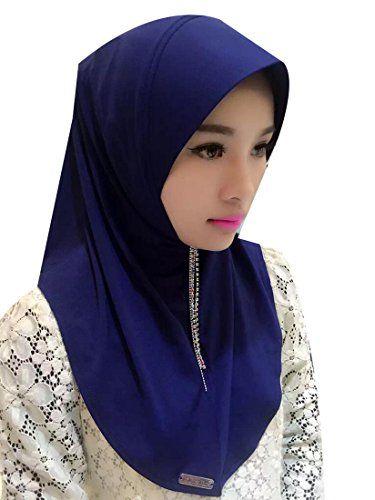 Earnest Womens Muslim Chiffon Hijab Islamic Headwear Arab Caps Navy Blue OS f5bb5a45688