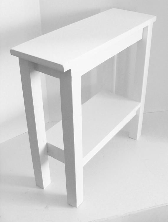 Narrow End Table For Your Home Or Beach Place Painted White Perfect Accent Table When Space Is An Issue Use In 2020 Narrow Side Table Narrow Table White Side Tables