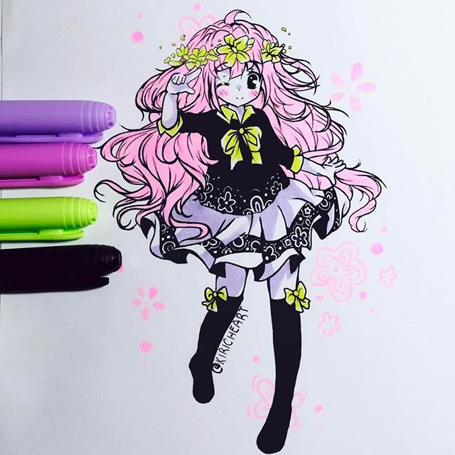 Anime Colouring Markers Display