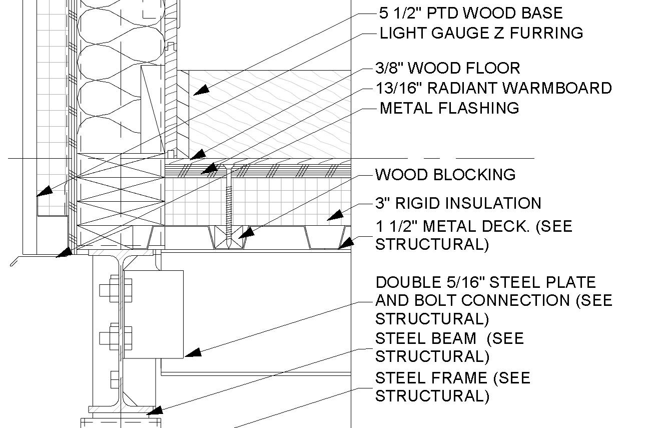 Wood Blocking In Metal Deck Png 1291 855 Structural Steel Beams Rigid Insulation Metal Deck