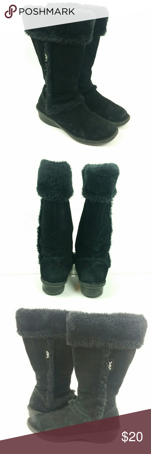 Anne Klein Sport fuzzy suede black boots 9/9.5 Anne Klein Sport fuzzy suede black boots. There's no size marking, but I think I bought them in size 9. I wear a 9.5 normally and these did fit great.  Pre-owned condition with some wear and discoloration. See pics! Priced accordingly. Still some life left in these great boots! :)  I'm always open to offers, so don't be shy!  SH-SSLSS-GO  090618 Anne Klein Sport Shoes Winter & Rain Boots
