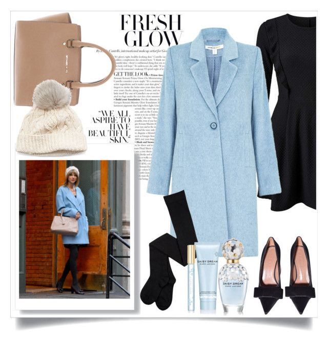 """The Powder Blue Coat"" by eledonoghue ❤ liked on Polyvore featuring Miss Selfridge, Michael Kors, SIJJL, Marc Jacobs, Blue, CelebrityStyle and powderblue"