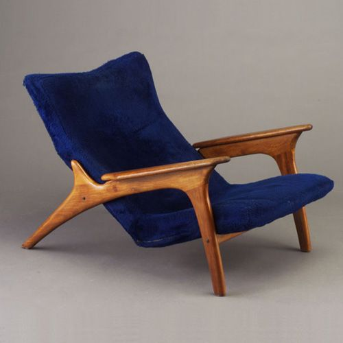 Anonymous; Teak Lounge Chair, 1950s. #blue