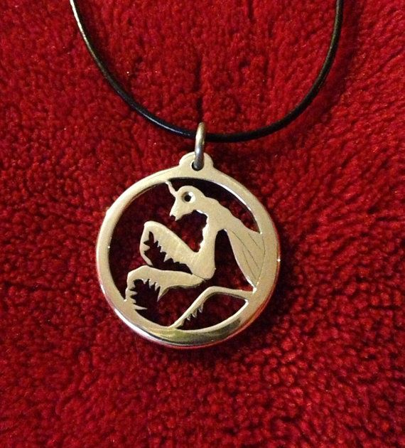 Praying Mantis Necklace Aluminum Pendant and by YaminCespedes, $25.00