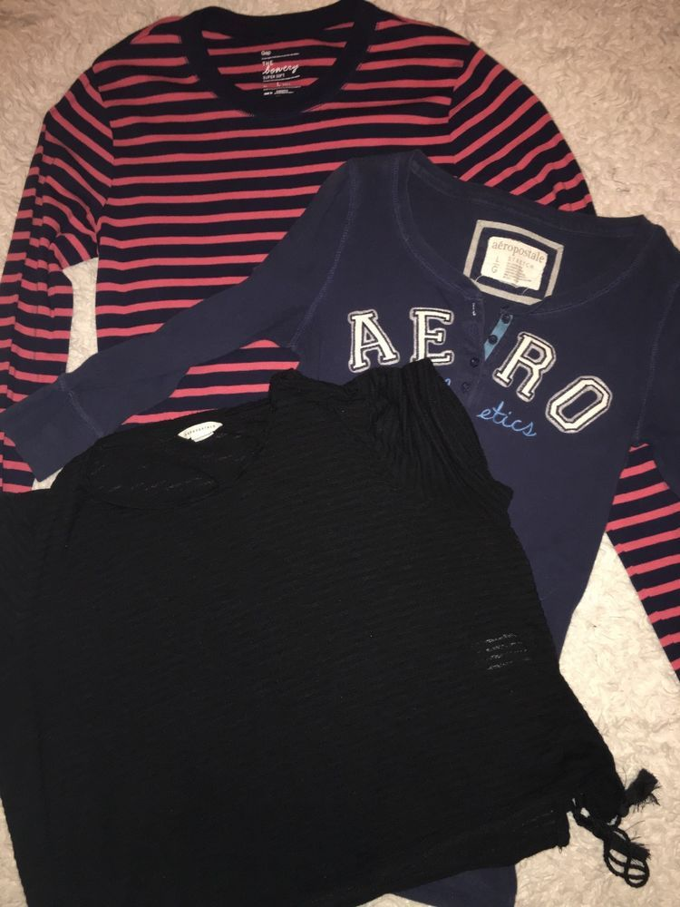 553e09f3 Lot Of 3 Gap Aeropostale Shirts Long Sleeve Short Size L Large XL #fashion # clothing #shoes #accessories #womensclothing #tops (ebay link)