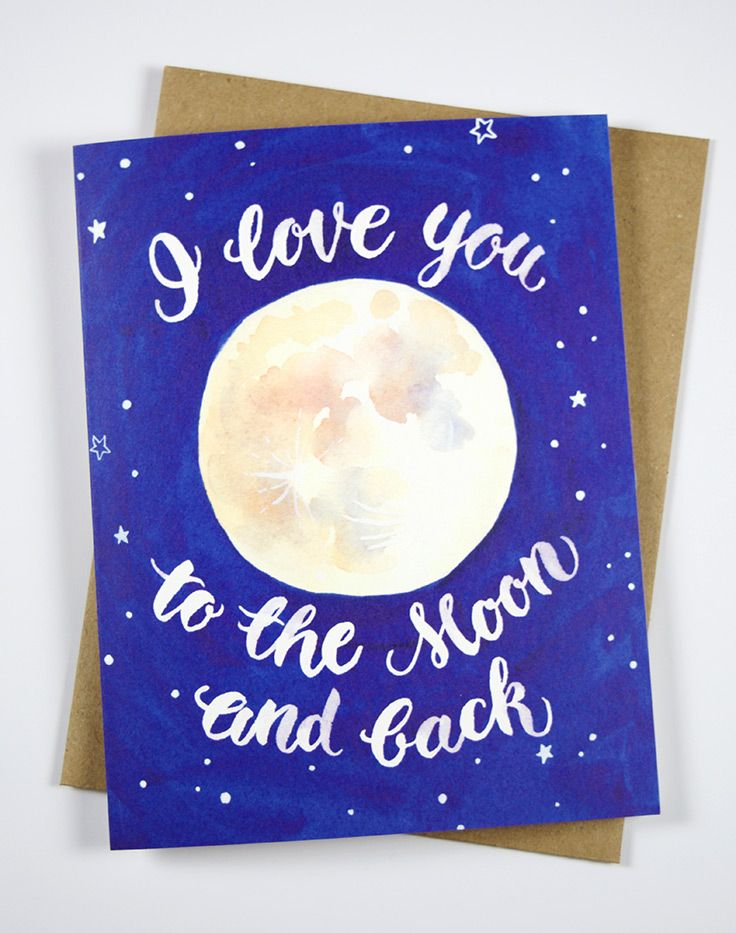 I love you to the moon and back card illustration love