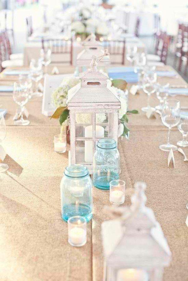 Tischlaufer Design Maritime Deko Gartentisch Windlichter Wedding