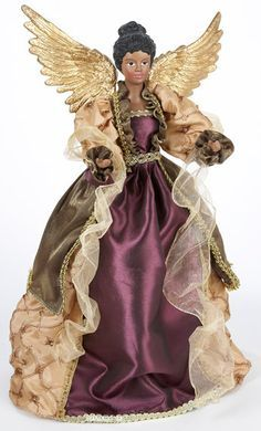 African American Angel Tree Topper Afrocentric Handcrafted Black