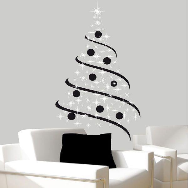 sticker mural sapin de no l bi colors choix taille et. Black Bedroom Furniture Sets. Home Design Ideas