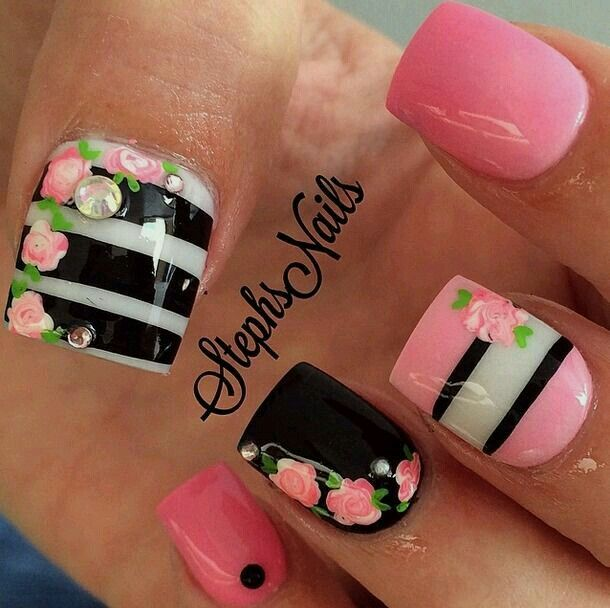 Candy Nail Design Dessert Manicure With Pink Black Nail Ideas