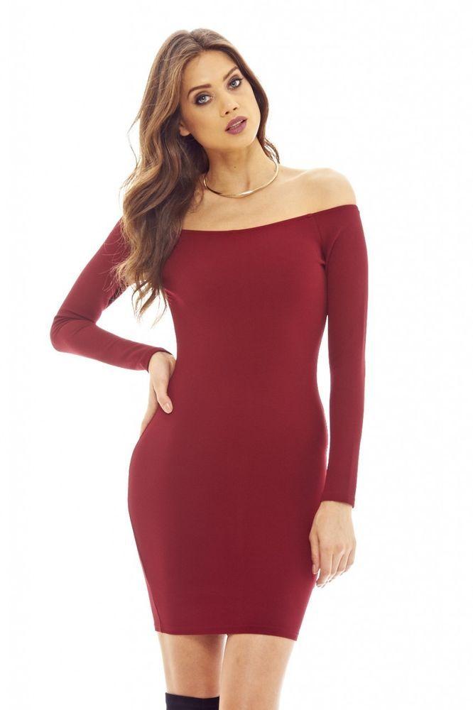 5882329625ad AX Paris Womens Burgundy Off The Shoulder Bodycon Dress Stylish Ladies  Fashion