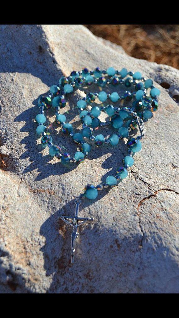 Black & Blue Swirl Bead Rosary by WreathsAndRosaries on Etsy, $15.00