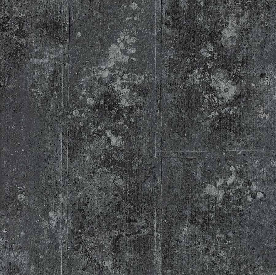 R� Tapet med metaloverflade-look i sort/gr�