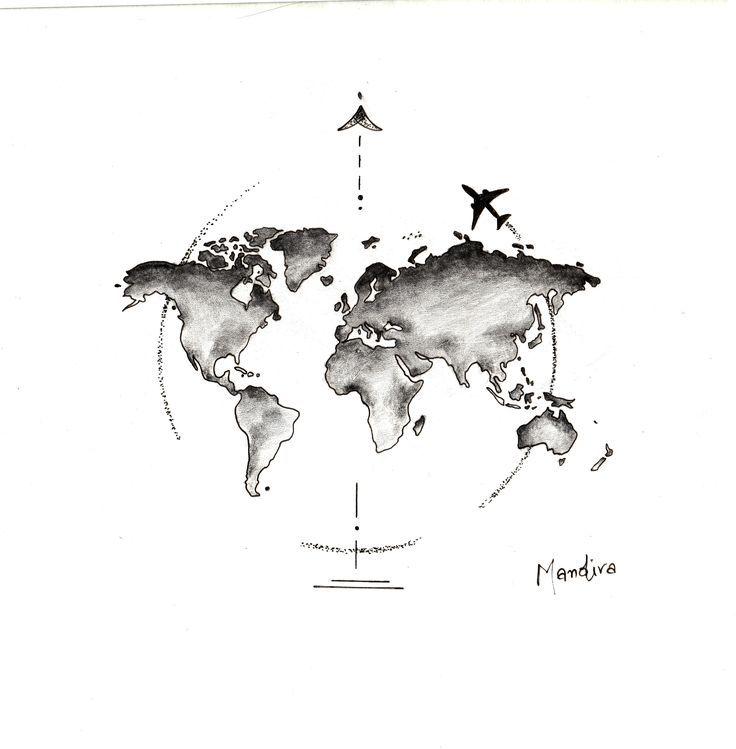 Photo of Carte du monde globe avec conception de tatouage d'avion par Mandira – #Design #globe #Mandira #m …