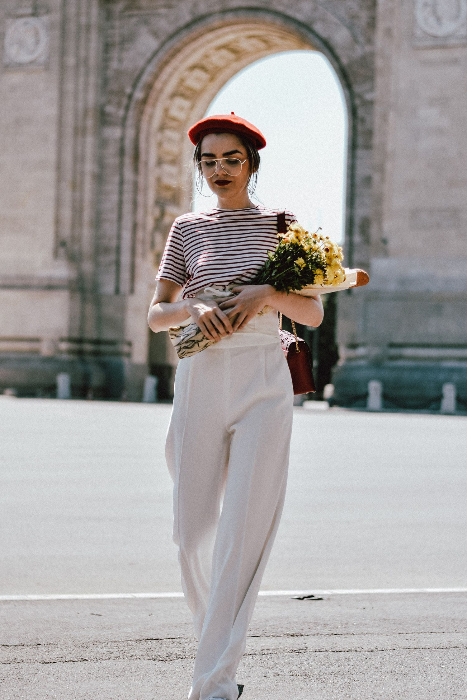 9e9cc73a White wide leg pants zara, mango stripe t-shirt, urban outfitters striped  tee, asos red beret, forever21 white lace up corset, furla red bag, furla  ruby red ...