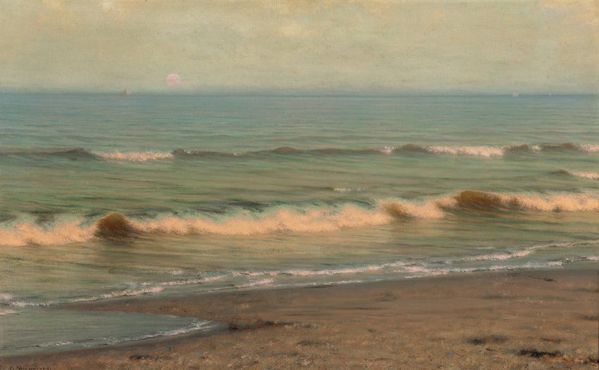 Twilight Surf Alexander Harrison Oil On Canvas 30 X 47 1 2 Private Collection