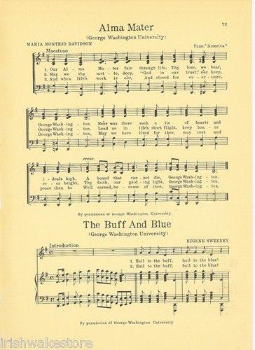 George Washington University 1927 Alma Mater \ Fight Song Hail - george washington resume