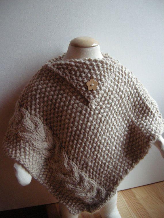 Baby poncho Wool & Alpaca beige 12 mois by AtelierLuneDeNacre   Free ...