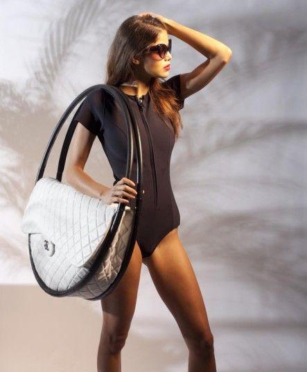 Hoola Hoop bag! Chanel's white and black leather hoop bag
