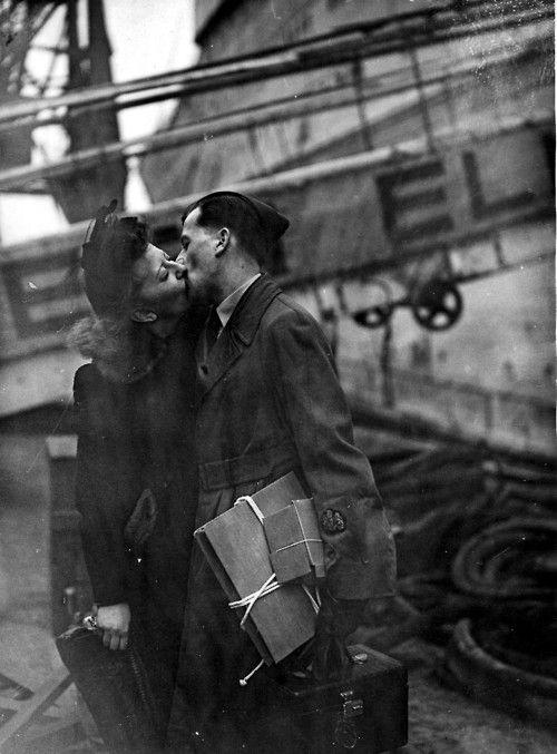Kiss Goodbye Vintage Couples Romance 1940s Photos