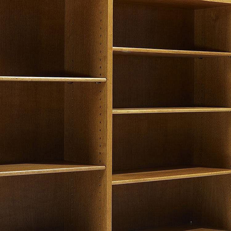 Børge Mogensen bookcases, pair Fredericia Stolefabrik Denmark, c. 1945 oak, brass 48 w x 10.25 d x 44.75 h inches