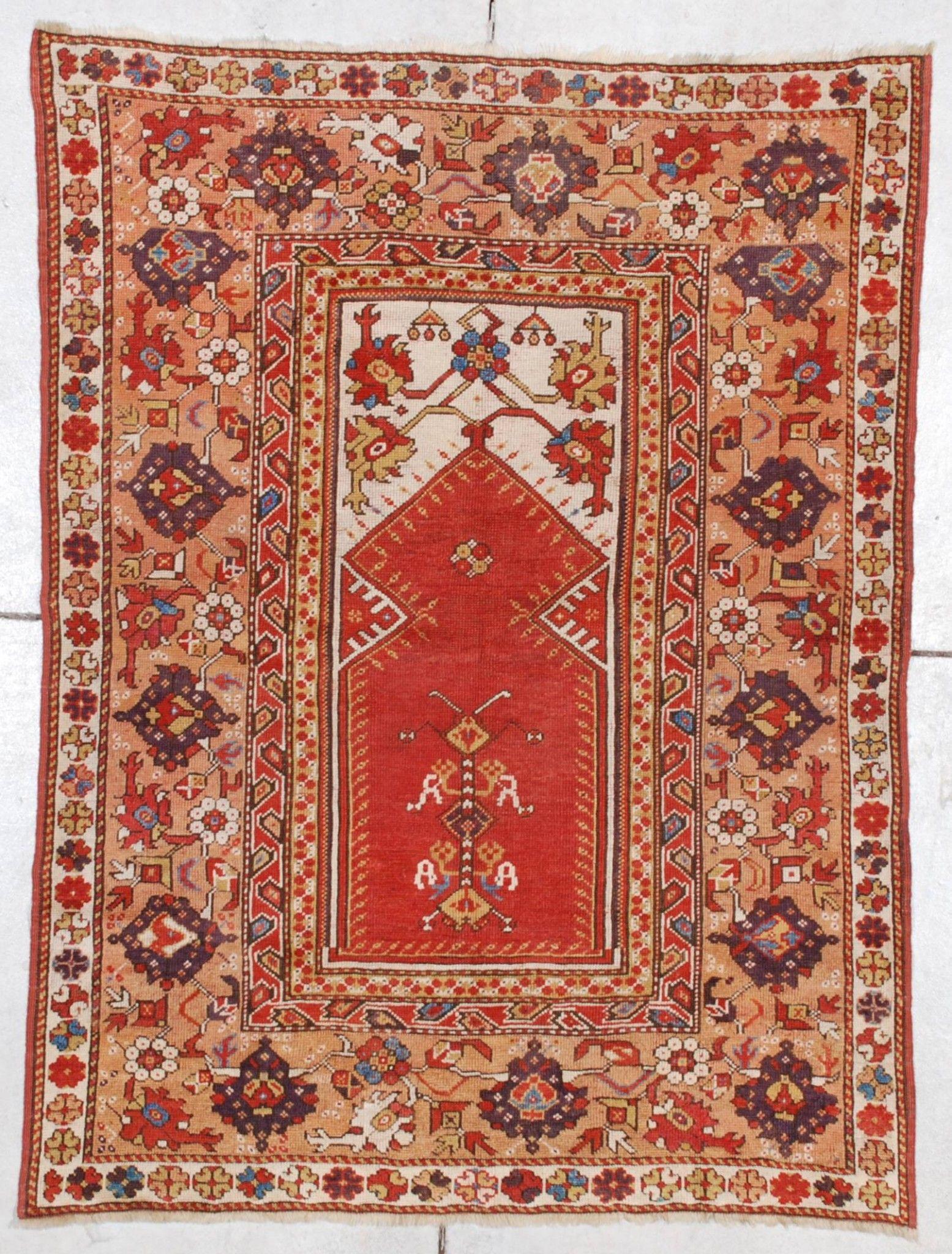 Antique Turkish Melas Melez Oriental Rug
