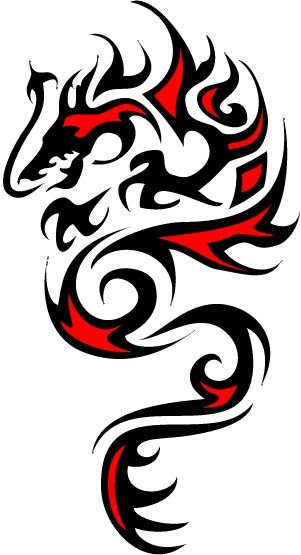 Red Black Dragon Tattoo I Wouldn T Get This By Any Means But It Reminds Me Of My Husband I Thi Celtic Dragon Tattoos Black Dragon Tattoo Tribal Dragon Tattoos