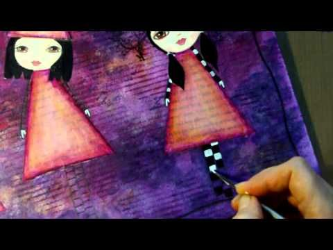 Mixed Media Painting - Elements Of Magic by RachO113. Timelapse video showing a whimsical, gothic themed mixed media painting. I think this mixed media artist is just amazing. Love her stuff to bits.