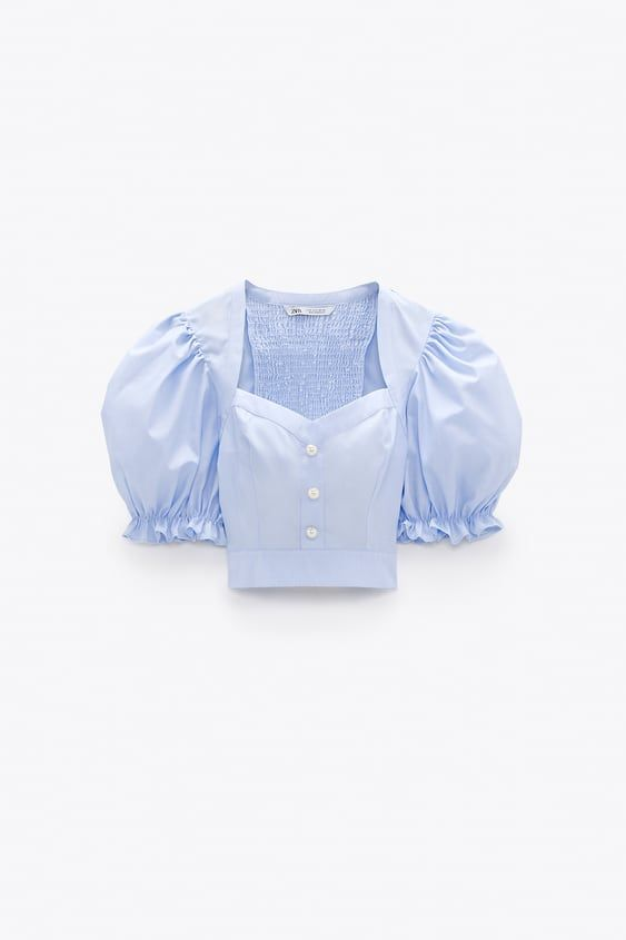 Pearl Button Crop Top In 2020 Tops Button Crop Top Pleated Tops