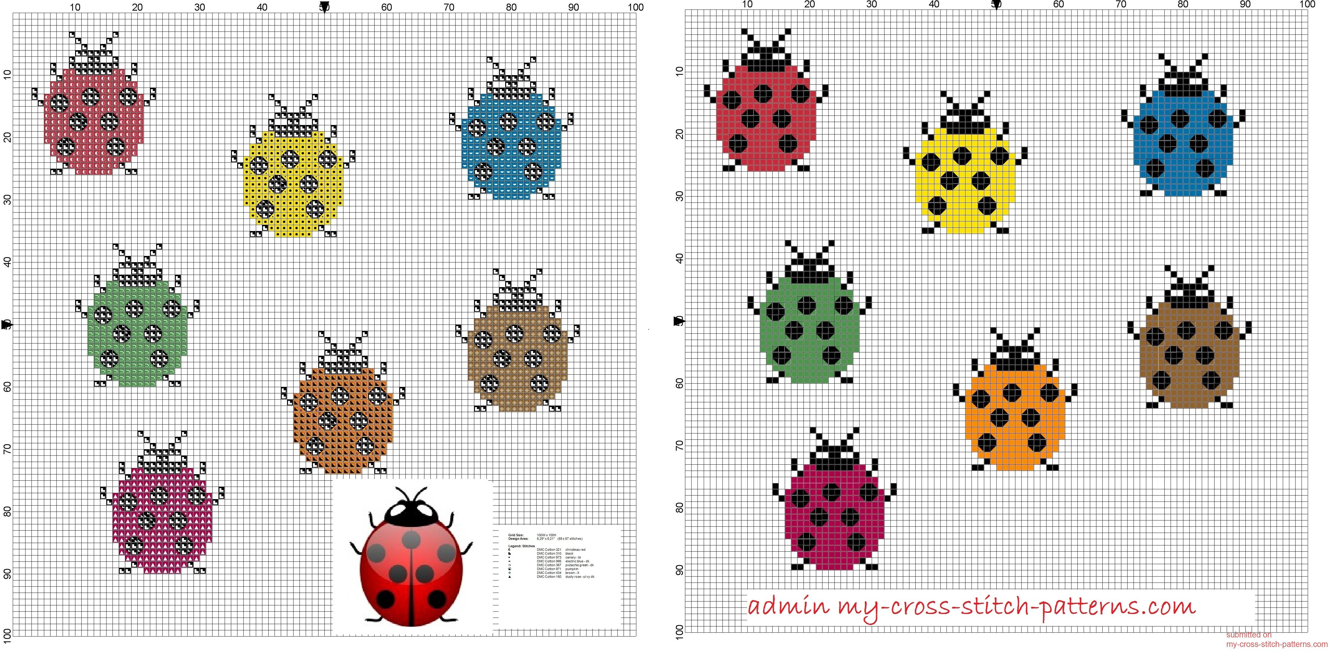 small and simple colored ladybugs cross stitch pattern free 20x23