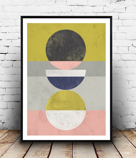 Home decor, Abstract print, Geometric art, Watercolor abstract, Pink ...