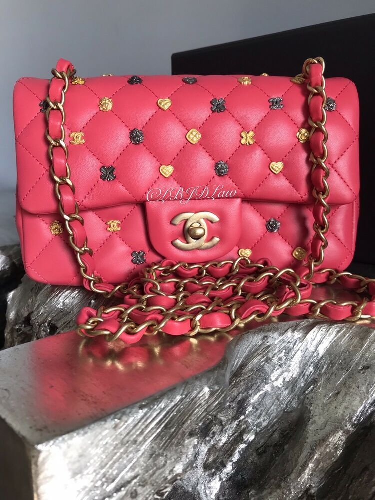 a9aea480c711 NWT CHANEL Lucky Charms Mini Classic Flap Rose Pink Lamb 18K 2018  Mademoiselle #CHANEL #. Chanel black caviar leather quilted jumbo single flap  bag