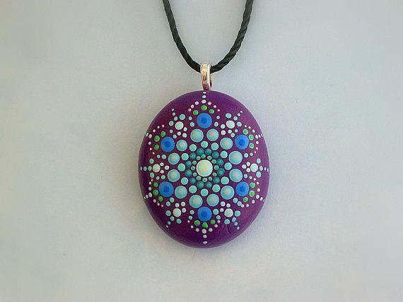 Beach fashion bohemian jewelry painted rock pendant necklace hippie beach fashion bohemian jewelry painted rock pendant aloadofball Gallery