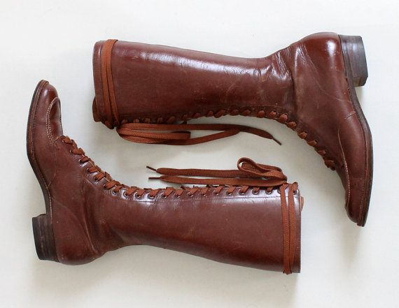 Vintage 1930s Boots 30s Women39s Tall Lace Up Work Boots