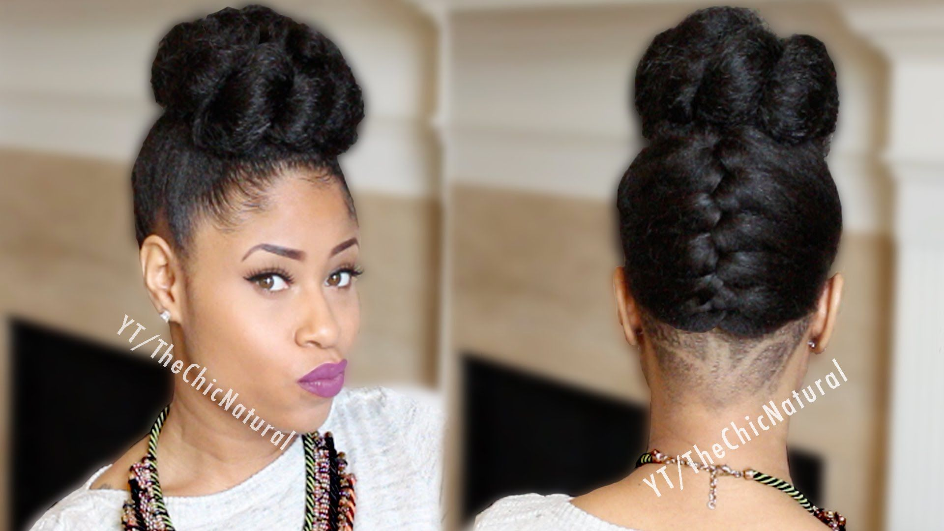 Fab French Braided Bun Updo On Natural Hair Braided