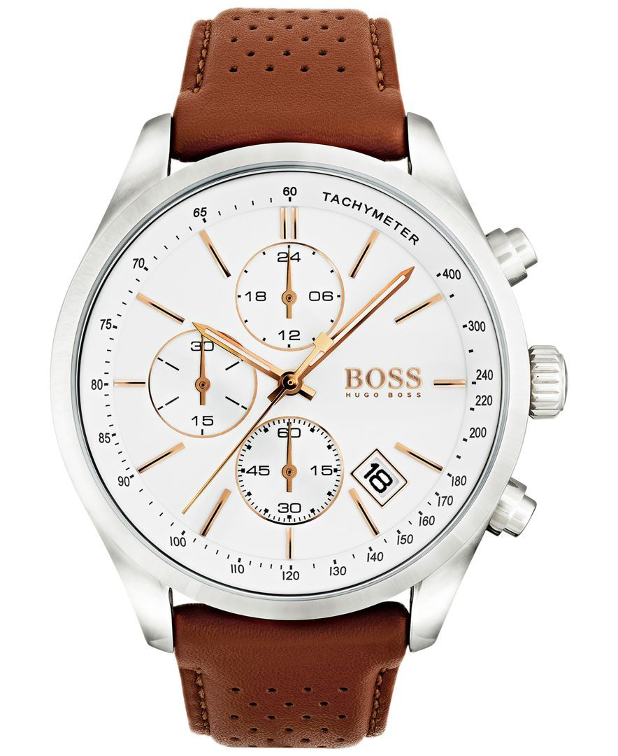 Boss Hugo Boss Men's Chronograph Grand Prix Brown Leather Strap Watch 44mm 1513475