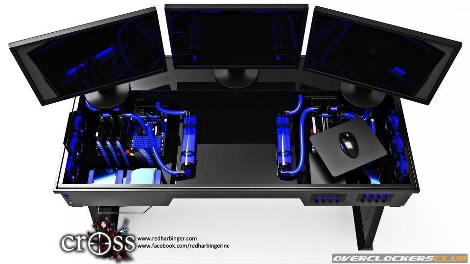 Red Harbinger Water Cooled Computer Desk In Blue Or Even White. Either Way  Iu0027m Gonna Make One.