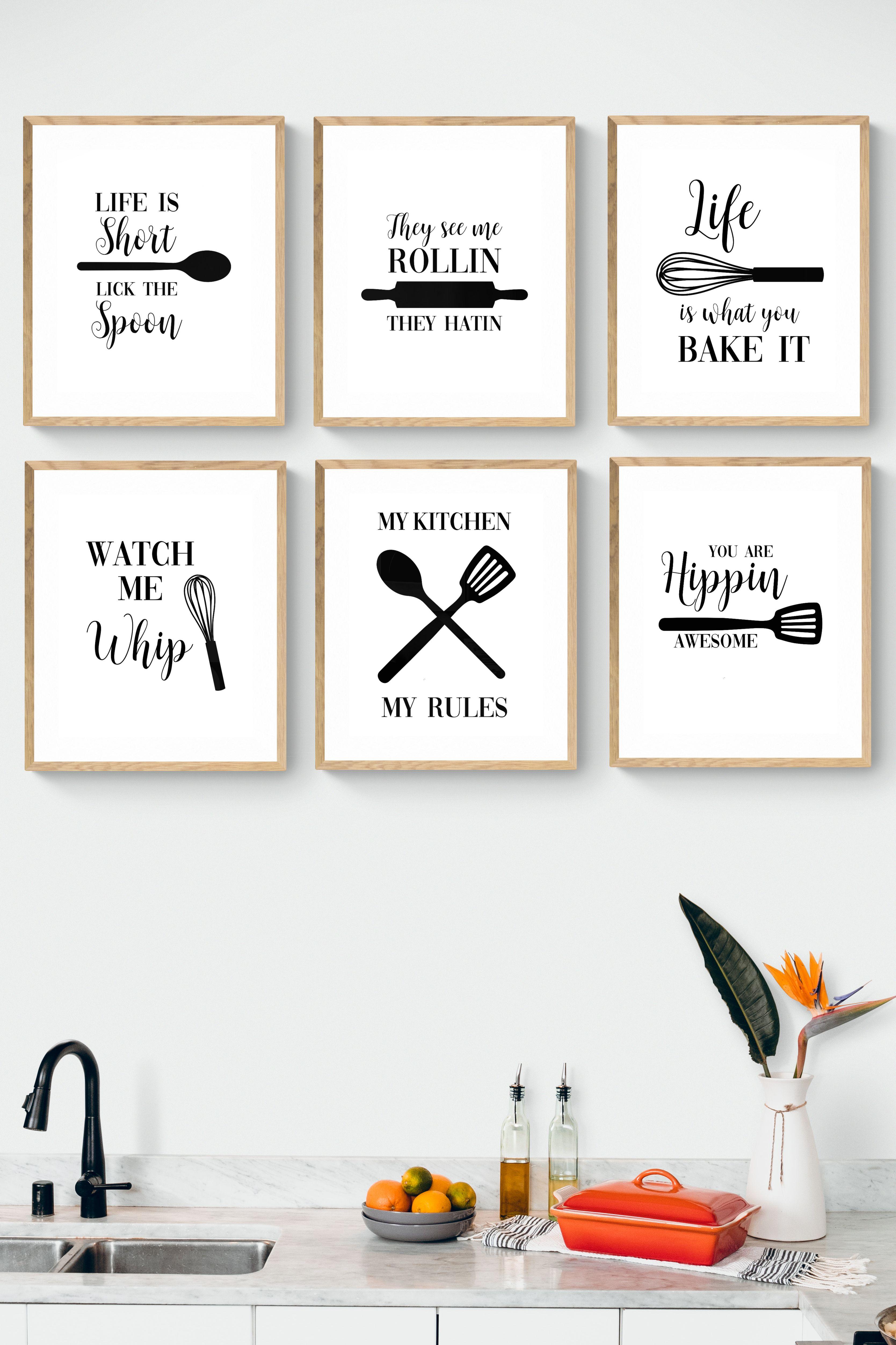Kitchen Printable Set, Kitchen Quote in 9   Canvas kitchen wall ...