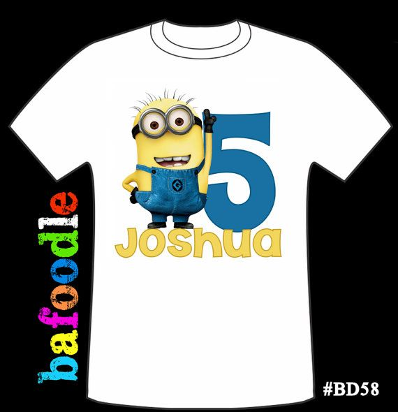 Despicable Me Personalized Age Tshirt Birthday Shirt By Bafoodle 1300 Minion Shirts