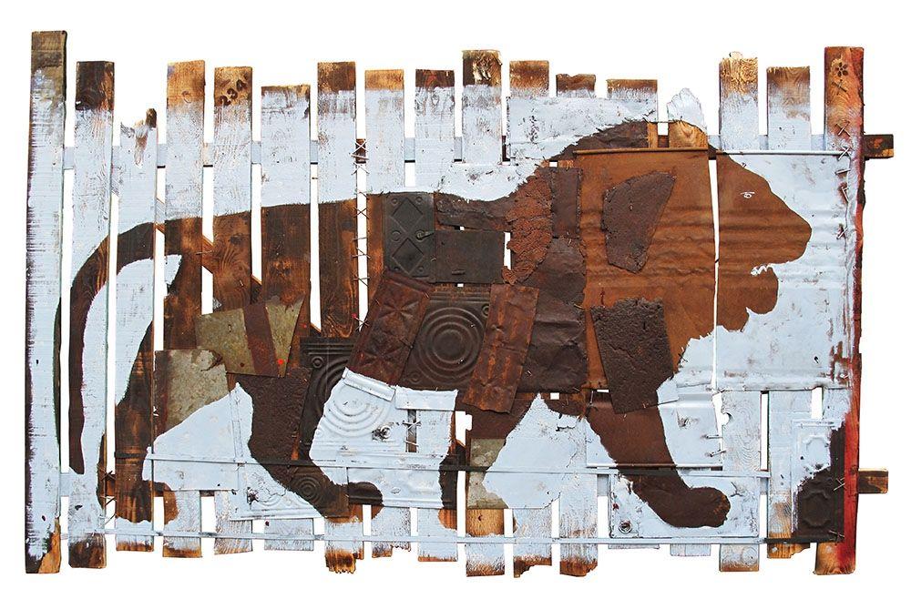 Pierre-Alex. - Le Lion - Mixte sur palissade de bois - 135 x 225 cm - 2013 - Galerie W - Galerie d'Art contemporain à Paris #galeriew #gallery #w #gallery w #pierre-alex. @galeriew