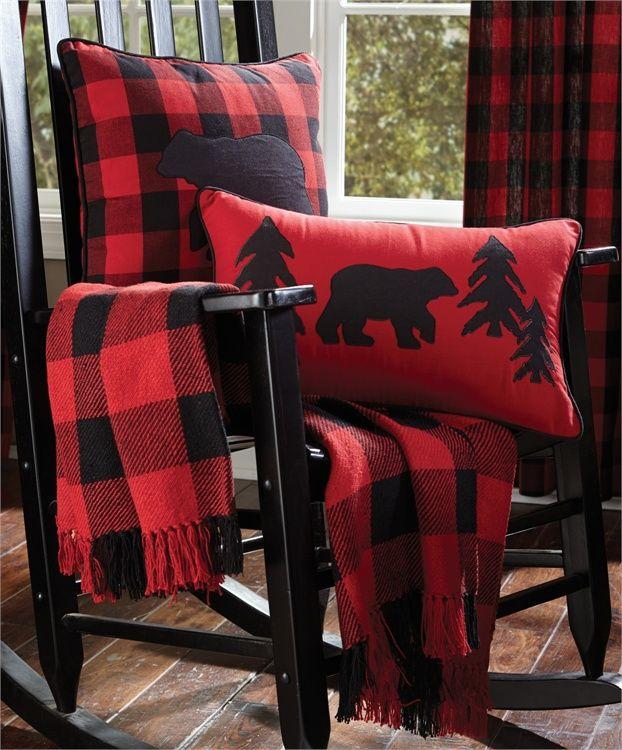 BUFFALO PLAID CABIN LODGE BLANKET BLACK BEAR RED CHECKS 50 x 60 QUILT THROW