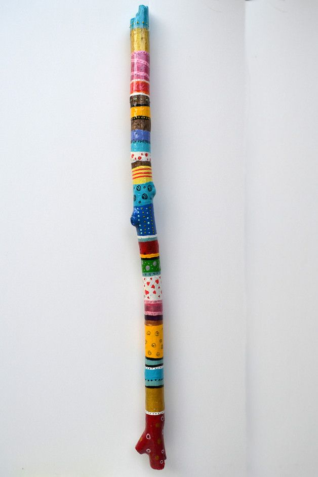 Gartendekoration - Farbenfroher Treibholz Blumenstecker - ein Designerstück von Tannwicht bei DaWanda #bemaltestöcke