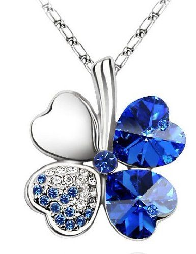 Lucky Crystal Four Leaf Clover Heart Pendant Necklace charm chain Gift New
