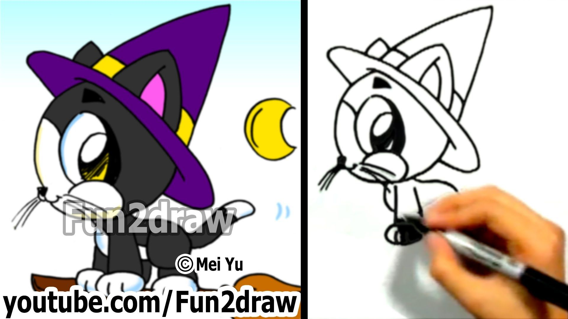 How To Draw A Cat Cute Kitty Halloween