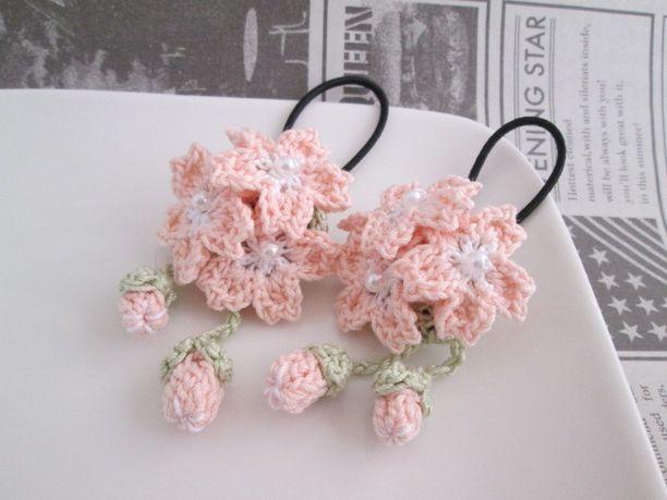 桜ヘアゴムmini2個セット:ピンク 2x