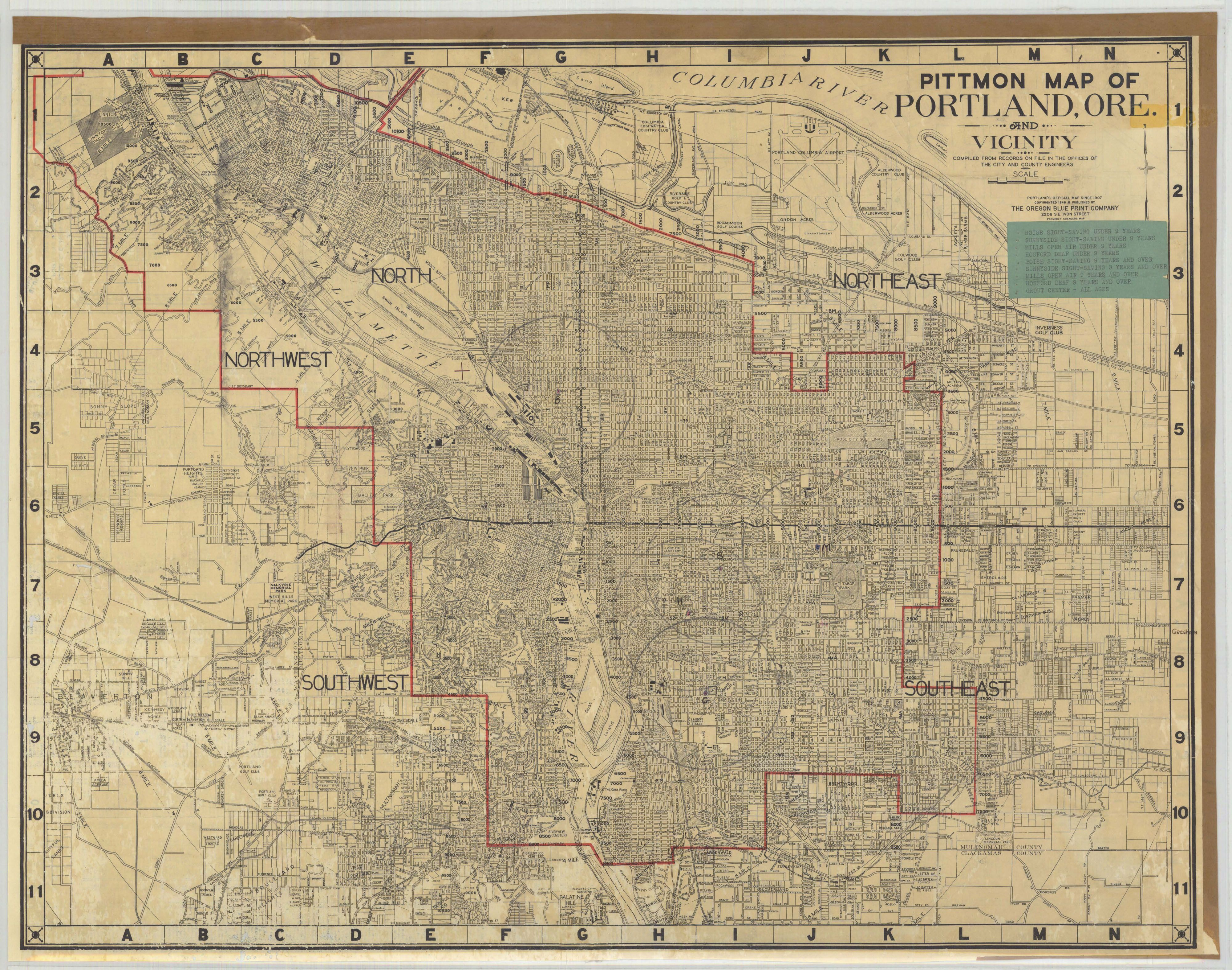 Pittmon Map Of Portland 1946 Geographic Meanderings