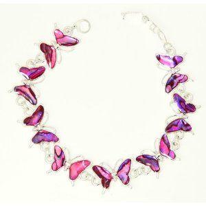 Beautiful Purple Abalone Paua Shell Butterfly Silver Colour Bracelet In Gift Box - D LtPQcR4