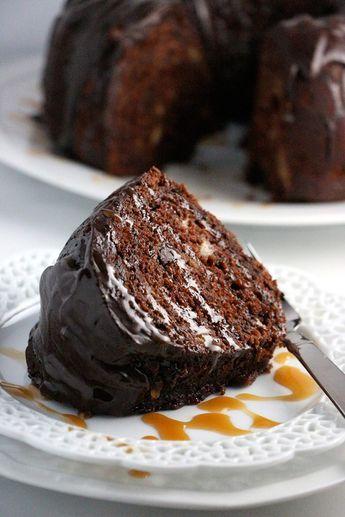 CHOCOLATE BANANA CAKE with Chocolate Ganache and Caramel Drizzle