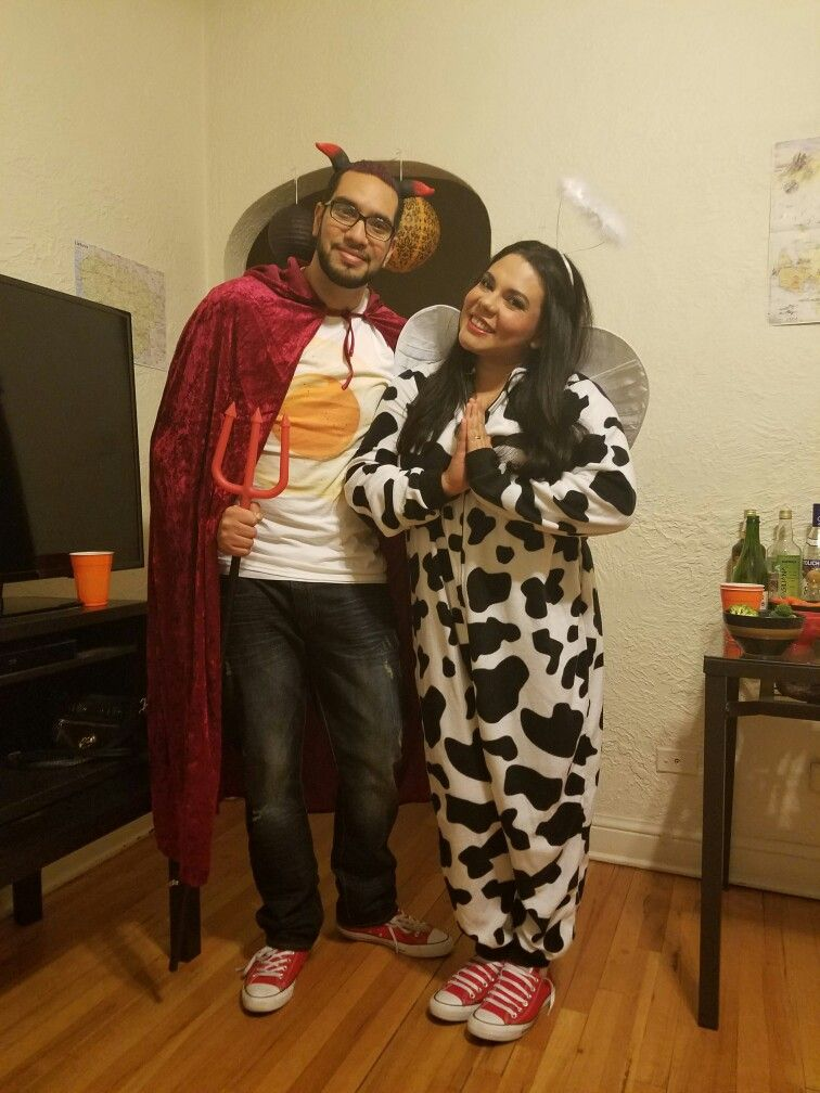 Punny Halloween Couple costumes Holy cow and deviled egg